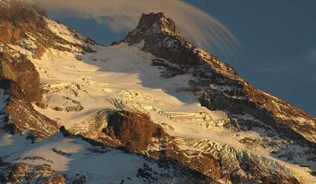 Soft evening light on Reid Glacier and Illumination Rock