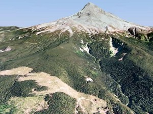 This GoogleEarth rendering shows the appalling proximity of the Boundary clear cut to Mount Hood's most pristine backcountry