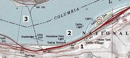 This map clip correlates today's landmarks to the aerial view of the falls, above