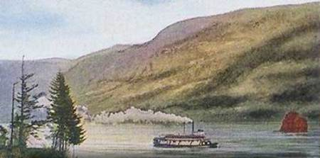 An early 1900s postcard shows a steam ship passing Phoca Rock