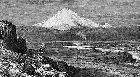 R. Swain Gifford's 1875 etching of Mount Hood towering over the Celilo Narrows is among the earliest geographically accurate renderings of the area
