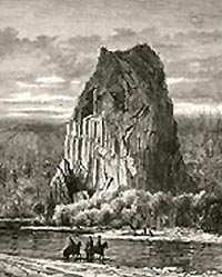 Nineteenth-century engraving of an early Beacon Rock scene