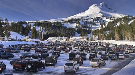 The sprawling Mount Hood Meadow parking lot is a sea of cars in ski season