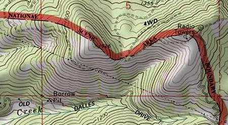 This map shows how the scenic area boundary excluded the unique, open slopes of Hood River Mountain shown in the previous photo.