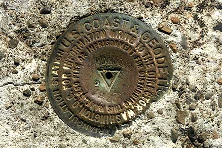 This USGS benchmark was placed in 1956, likely in conjunction with modern highway construction in the Gorge.