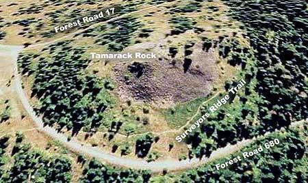 A birds-eye view of Tamarack Rock