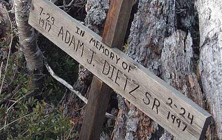 The rustic Adam J. Dietz Sr. Memorial on Tamarack Rock