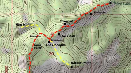 A topographic map reveals the true features and terrain at risk from the Bear Creek OHV proposal, including Red Hill, the Old Vista Ridge Trail, Owl Point and Perry Lake.