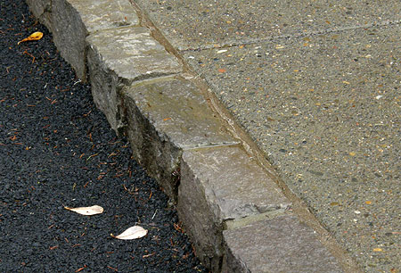 Stone curbs show the attention to details paid by the designers
