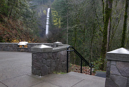Another view from the plaza showing the interpretive sign (in the distance) and steps leading to the lower end of the Latourell Falls loop