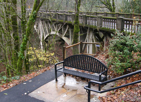 This stately bench salutes the old highway bridge, a nice touch!