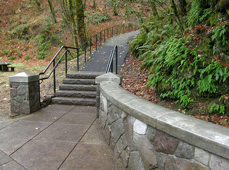 New steps leading to the upper falls viewpoint and loop trail