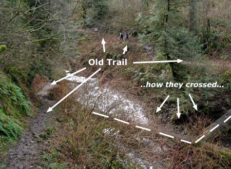 Bridge needed! This old trail and the sketchy log crossing are an accident waiting to happen -- and also an opportunity to provide an excellent short loop for hikers.
