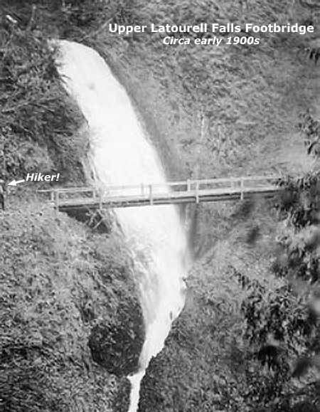 This precarious bridge spanned the upper tier of Upper Latourell Falls in the early 1900s (courtesy U of O Archives)