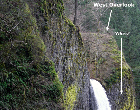 The west overlook and falls brink from the east side