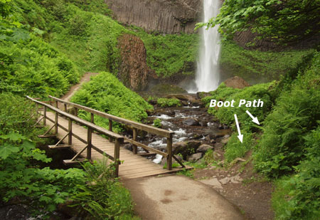 Heavy traffic has formed a boot-path at the base of Latourell Falls
