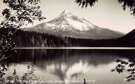 Timeless classic: 1920s Postcard view of Mount Hood from Lost Lake