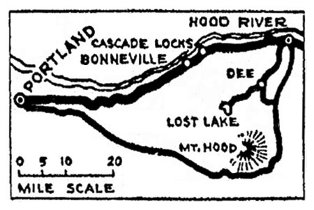 Lost Lake is prominent on this 1920s map of the Mount Hood Loop (Source: The Oregonian)