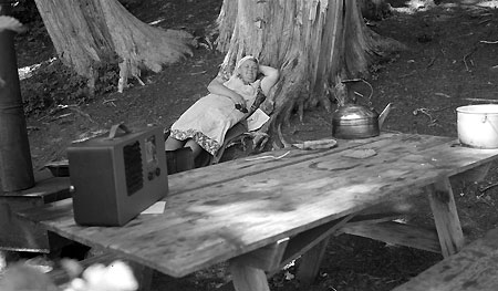 Io Day relaxing at Lost Lake in 1941 (Source: Hood River History)
