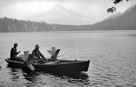 Alva Day's boat at Lost Lake in 1938 (Source: Hood River History)