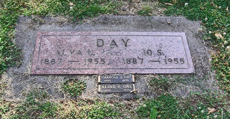 Alva and Io Day and son Carroll and his wife Aline are at rest in the same plot (source: findagrave.com)