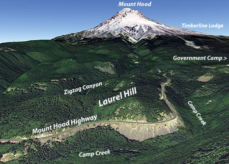 Google Earth perspective on the US26 Laurel Hill Grade