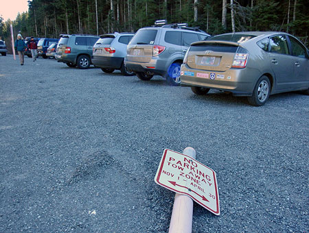 Civil disobedience ensued in 2010 when ODOT abruptly closed the Mirror Lake trailhead to winter parking