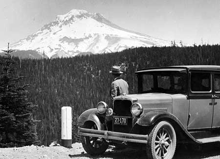 1920s motorists enjoying the view from a kinder, gentler Mount Hood Highway in 1931