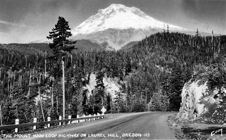 The original Laurel Hill grade in the 1920s, shortly after the Mount Hood Highway opened