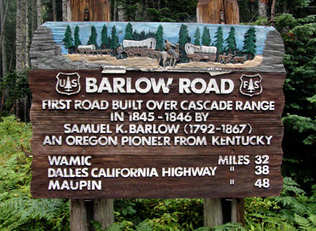 The new (or restored?) sign at Barlow Pass in 2010