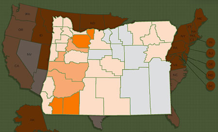 The CAPC forecast for tick exposure in 2013, with hot spots Hood River and Clackamas counties and Southern Oregon (Source: CAPC)