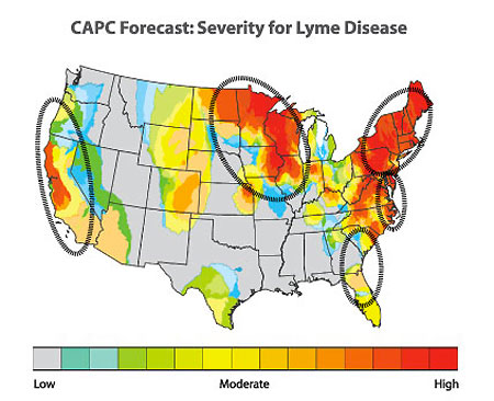 The 2013 Lyme Disease forecast by the Companion Animal Parasite Council puts Northwest Oregon in the moderate risk range (Source: CAPC)