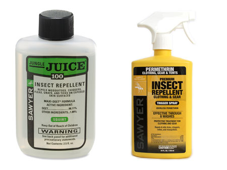 DEET (left) is easier to use but Permethrin (right) is more effective for ticks