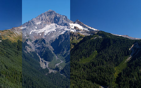 Composite comparison of polarized and un-polarized images of Mount Hood