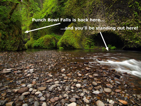 The classic view of Punch Bowl Falls is captured near the large hollow in the cliff shown in this photo