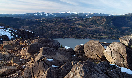 Looking across the Columbia River in winter to the Silver Star Range from Angels Rest