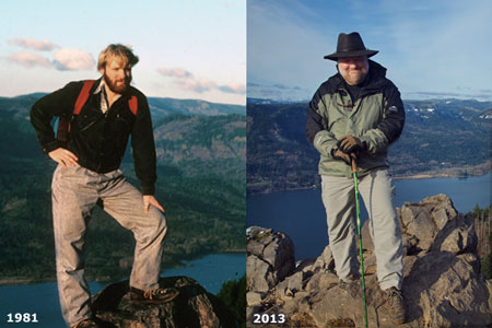 The (formerly skinny and shaggy) author on top of Angels Rest in 1981 and an older, wiser and (and much balder) version in 2013!
