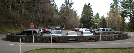 The Angels Rest trailhead was expanded and improved in 2000 to include stone walls and trailhead signage in the style found elsewhere along the Historic Columbia River Highway