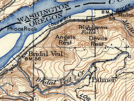 This 1911 map shows an upper trail to Angels Rest from the long-vanished mill town of Palmer, long before the Depression-era trail we know today was constructed