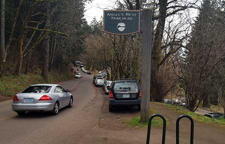Even on the grayest of winter weekends, cars spill far beyond the overflow parking area at Angels Rest, lining the shoulders of the Historic Highway