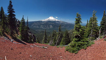Red cinders frame Mount Hood from the east leg of the Lookout Mountain loop