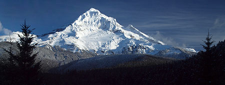 The Sandy Glacier is front and center in the classic view of Mount Hood from Lolo Pass