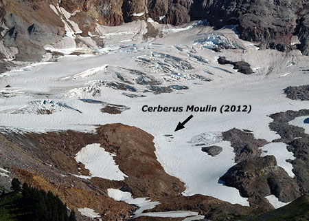The Cerberus Moulin is located along the lower, receding edge of the Sandy Glacier