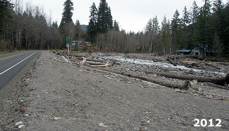 This wider view shows the rebuilt section of Lolo Pass Road that was briefly a channel of the Sandy River during the January 2011 flood