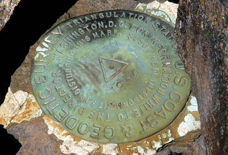 USGS marker on the summit of the East Bluff