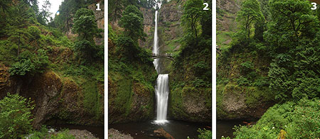 Three photos came together for the Multnomah Falls image