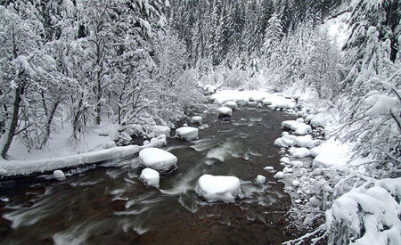 December: The East Fork Hood River in winter