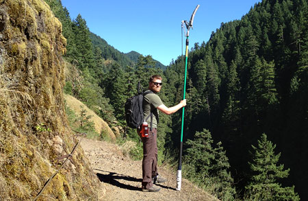 Chris Alley was one half of the TKO crew, and the only hiker with a 16-foot pole pruner on the Eagle Creek Trail that day!