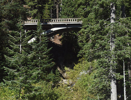 East Fork Bridge at Sahalie Falls as it appears from the modern Loop Highway