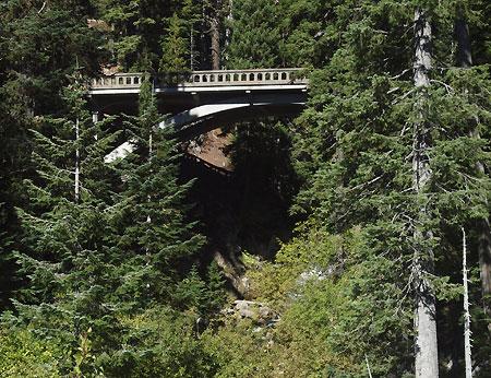 East Fork Bridge at Sahalie Falls as it appears from the modern Loop Highway